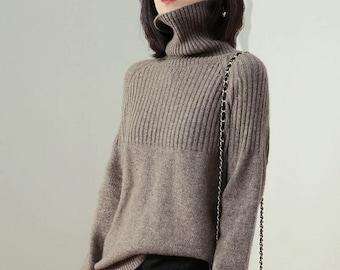 2020-21 Winter Turtleneck Long Sleeve Soft Pullover / Cashmere Fiber Warm Jumper / Tan Cashmere Sweater / Turtleneck Cashmere / S - XL