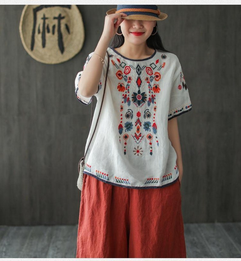 Embroidered Pure Cotton Blouse  Plus Size Women Blouse  Embroidered Women Top