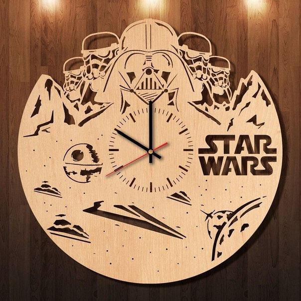 3 Star Wars Design en Bois Horloge Murale Home Art salle de jeux vidéo game Comics