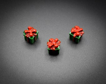 Gift Cabochons Cute Present Cabochons Dollhouse Miniature Cabochons For Slime Mini Gift Dollhouse Prop Red And Green Presents