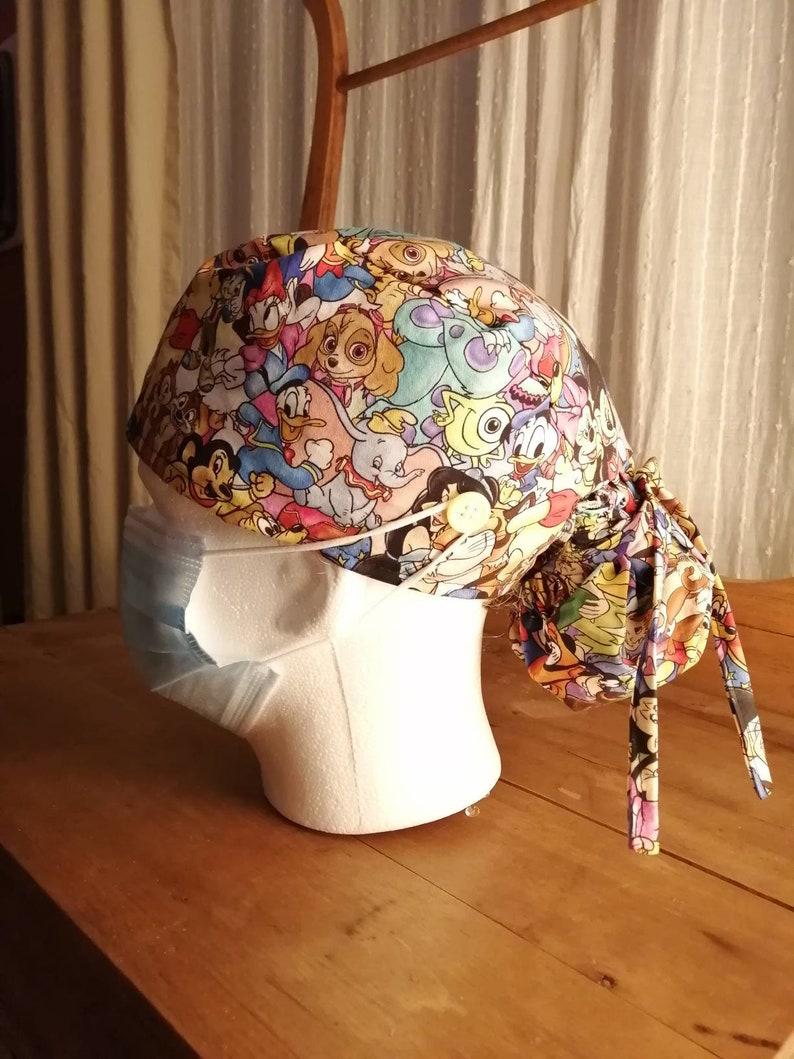 Disney Characters Bonnet Scrub Cap