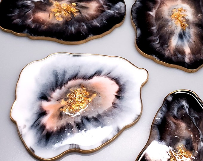 Featured listing image: Black, White and Peach Agate Coaster Set (5)
