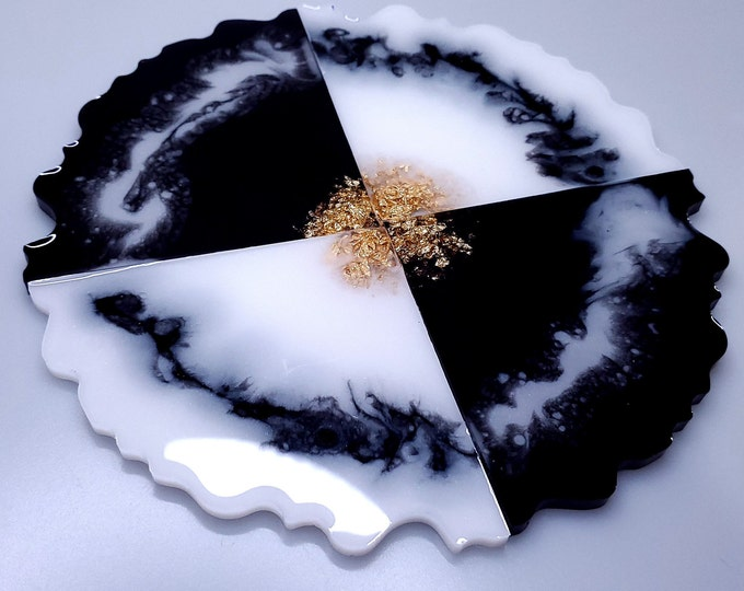 Featured listing image: Black and White Agate Coaster Set (4)