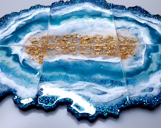 Featured listing image: Ocean Blue, White and Geode Agate Coaster Set (6)
