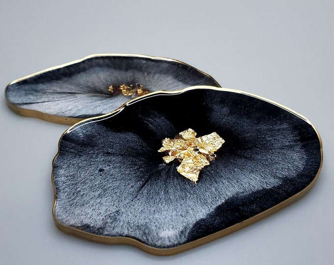 Featured listing image: Black, Silver and Gold  Agate Coasters