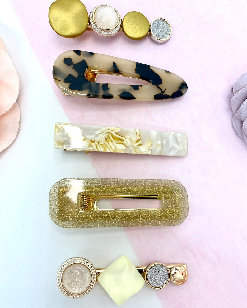Set of 5 Acrylic Clips Set for Girls Women The Gold Set