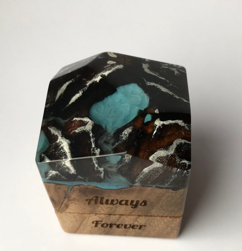 Custom engraved proposal wood and resin ring box.Valentines engagement ring holder slim personalized wood ring box