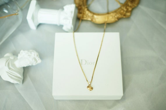 Authentic Christian Dior gold cd logo necklace , C