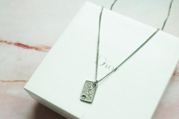 Authentic Christian Dior logo silver necklace dior