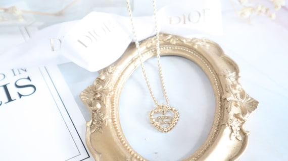 Authentic Christian Dior heart shaped gold neckla… - image 9