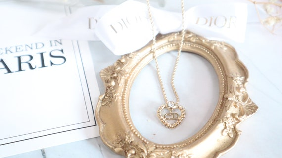 Authentic Christian Dior heart shaped gold neckla… - image 2