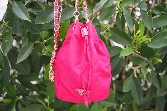 Authentic Prada Pink Nylon Tessuto Small Bucket Dr
