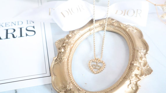 Authentic Christian Dior heart shaped gold neckla… - image 8