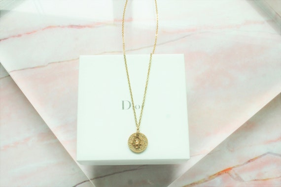 Authentic Christian Dior circle shaped gold neckla