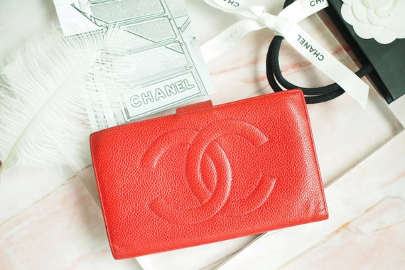Authentic Chanel red caviar wallet , Chanel wallet