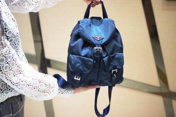 Authentic Prada Navy Nylon Leather Trim Backpack,