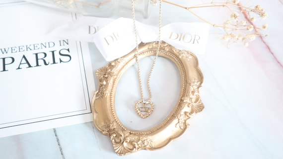Authentic Christian Dior heart shaped gold neckla… - image 3
