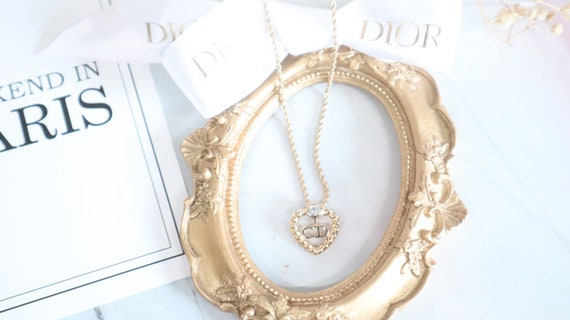 Authentic Christian Dior heart shaped gold neckla… - image 6