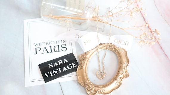 Authentic Christian Dior heart shaped gold neckla… - image 1