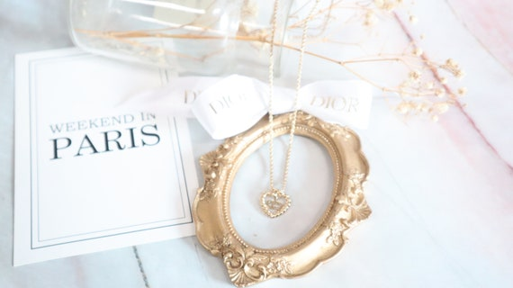 Authentic Christian Dior heart shaped gold neckla… - image 7