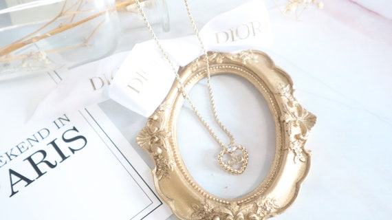 Authentic Christian Dior heart shaped gold neckla… - image 5