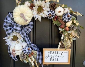 Fall Wreath - Black and White Buffalo Check - Pumpkin Wreath - White Pumpkin Wreath - Front Door Wreath - Fall Decor