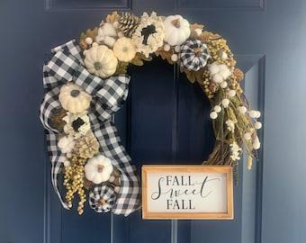 Fall Wreath - Front Door Wreath - Black and White Plaid - Buffalo Check - Fall Decor