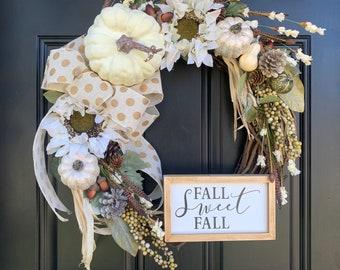 Fall Wreath - Pumpkin Wreath - White Pumpkin Wreath - Front Door Wreath - Fall Decor