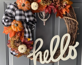 Fall Wreath - Front Door Wreath - Black and White Plaid - Buffalo Check - Fall Decor - Pumpkin