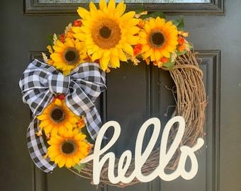 Fall Wreath - Sunflower Wreath - Front Door Wreath - Hello Wreath - Year Round Wreath