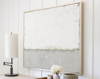 Abstract Canvas Wall Art, Grey Minimalist Painting on Canvas, Large White Acrylic Painting, Original Modern Room Decor