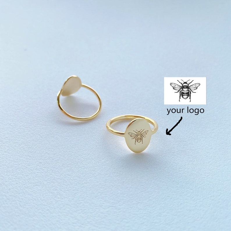 Personalized engraved logo oval ring Custom engrave wildflowersbirth flowers 1 mm width thin ring Classical ring gifts for mom