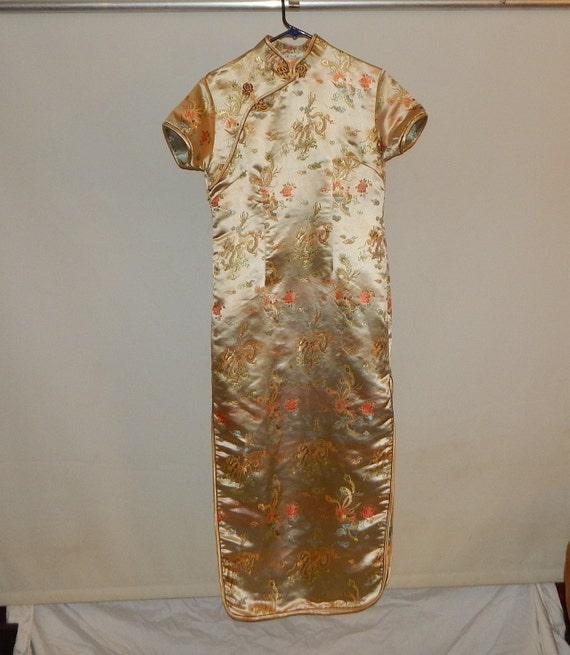 Vintage 80's Cheongsam Maxi Dress