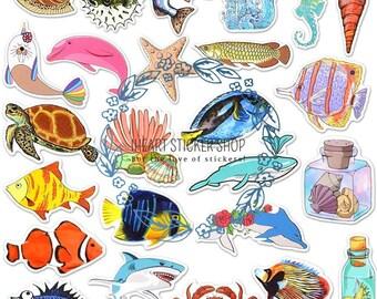 23 Pcs Whales Sticker Ocean Mammals Marine Whale Gold Foil Sticker Flakes Sea,Nautical Under the Sea Bullet Journal Stickers Scrapbook
