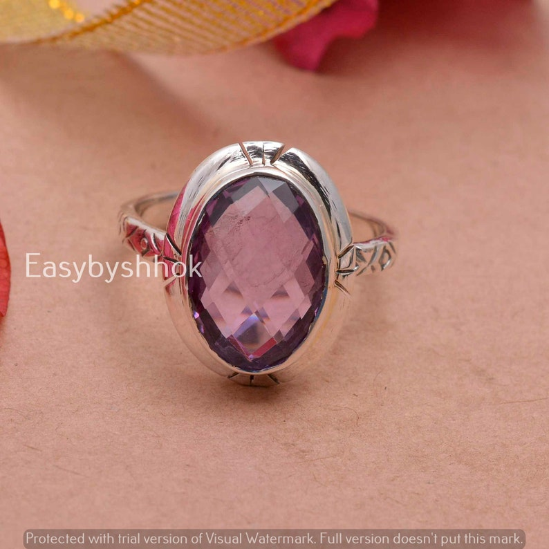 Beautiful Amethyst Natural Gemstone 925 Solid Sterling Silver Handmade Ring Woman Gift For Her