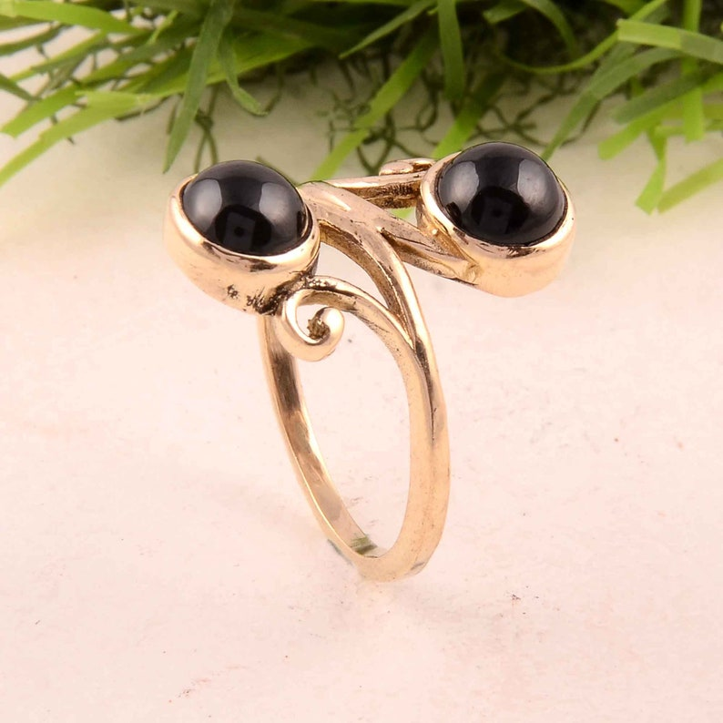 Black Onyx,Gemstone Brass Ring,Stone Shape Round Black Onyx Jewelry,Unique Ring,Wedding Ring,Vintage Ring,Antique Ring,Gift For Her