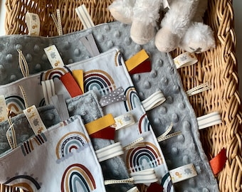 Baby Crinkle Toy, Sensory Blanket, Earth Toned Rainbow, Minky, Handmade gift, Boho, Gender Neutral, Baby Shower Gift