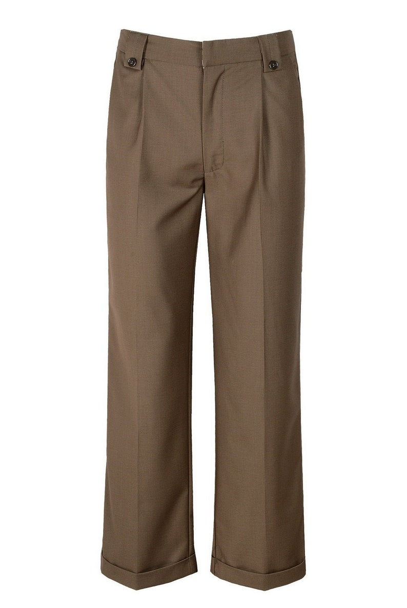 1920s Men's Pants, Trousers, Plus Fours, Knickers Mens 1940s Brown Swing Vintage Style Fishtail Look Trousers $55.00 AT vintagedancer.com