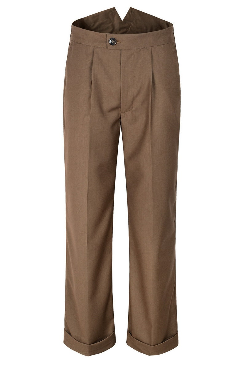 1930s Men's Fashion Guide- What Did Men Wear? Mens 1940s Brown Style Fishtail Back Trousers $55.00 AT vintagedancer.com