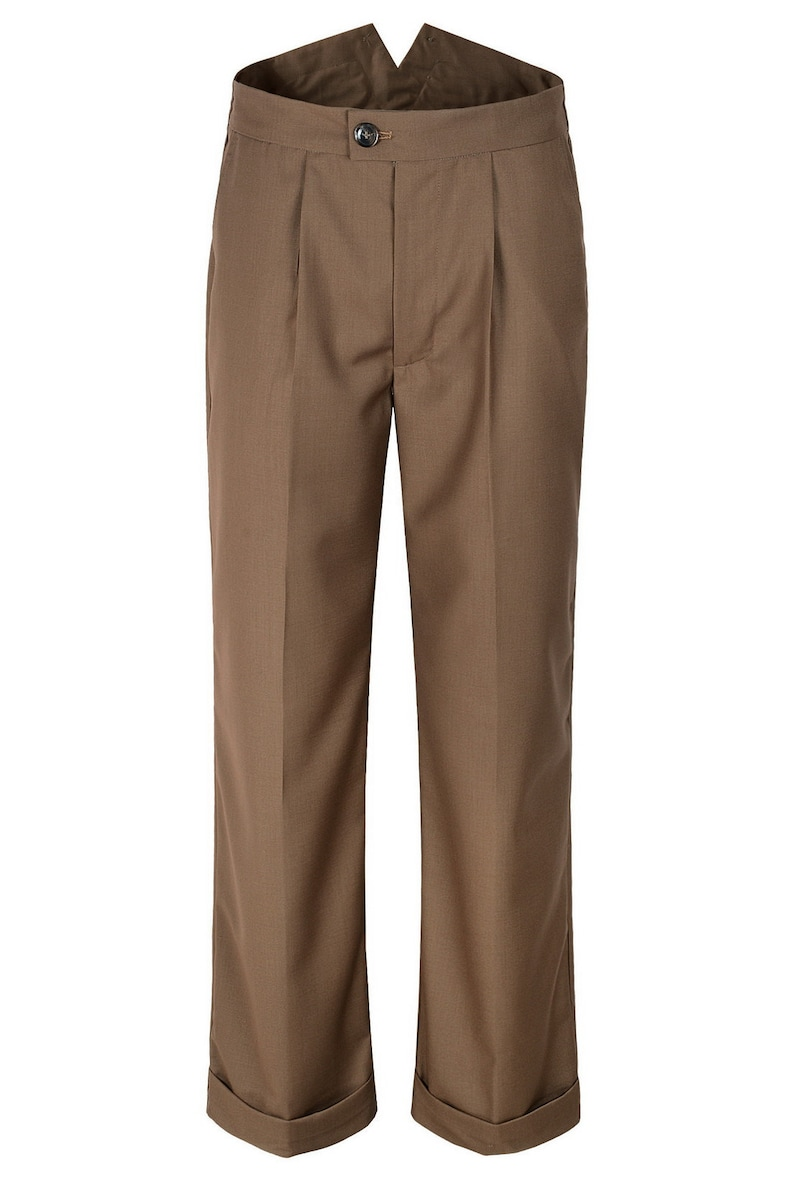 1940s Men's Clothing Mens 1940s Brown Style Fishtail Back Trousers $55.00 AT vintagedancer.com
