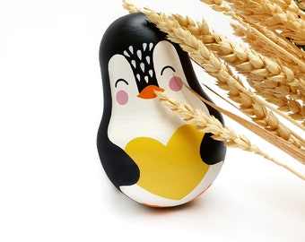 Roly Poly Doll | Penguin toy | Boho baby shower | 1st Birthday Gift |