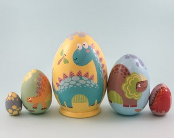 Matryoshka dinosaur | Dinosaur Playset | Nesting Doll | Russian wooden Matryoshka | Dinosaur toys | Easter gift for Toddler