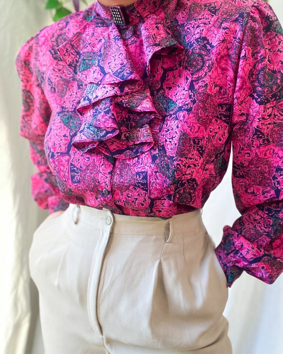 Sea Bottom Theme Top Earthy Colors and Pastel Pink Blouse Vintage 80/'s Boho Blouse with Puff Sleeves Novelty Print Top Hipster Print Top