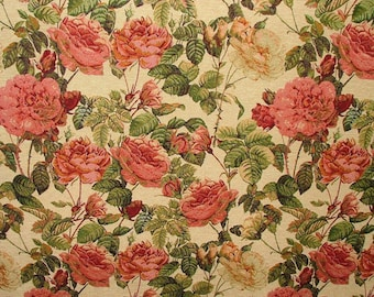 Vintage French Floral Tapestry Weave Upholstery Fabric 54