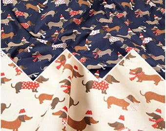 Dachshund Christmas Dogs Puppies Printed Polycotton Poplin Fabric Multicoloured Material Poly Cotton Color Craft Dressmaking Scrubs Masks
