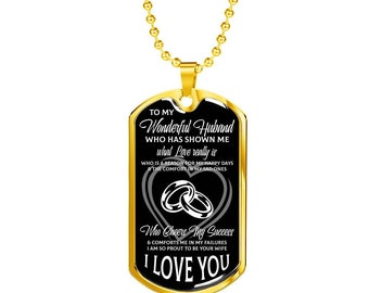 Gift for Husband, Husband's Gift from Wife, Wedding Anniversory Gift for Usband, Birthday Gift for Husband, Dog Tag Necklace With Message