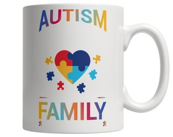 Autism Doesn't Come With A Manual, Autism Awareness Coffee Mug, Heart Puzzle autism Awareness Special Gift for Family Coffee Cup 11oz White