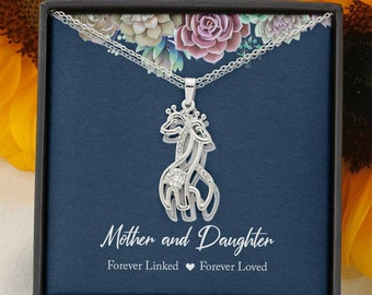 Mother & Daughter Necklace, Mother's Gift from Daughter, Gift for Daughter from Mom, mom and Daughter Gift,Forever Linked Forever Loved