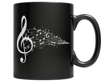 Gift for Music Teacher, Coffee Mug with Music Note, Coffee Cup with Handle for Music Teacher 110z Black