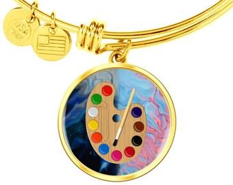 Gift for Drawing Teacher, Art Teacher's Gift, End of The Year Gift for Art Teacher Bracelet with Paint Pallot